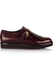 Tod's Fringed glossed-leather platform brogues