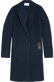 Leather-trimmed boiled wool coat
