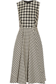 Gingham jacquard midi dress