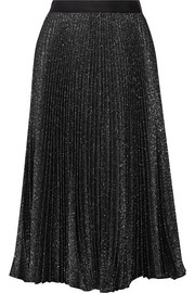 Pleated metallic cotton-blend midi skirt