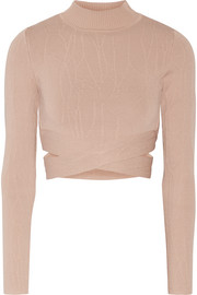 Cutout textured stretch-knit turtleneck top