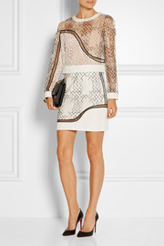 Faille-paneled embroidered tulle mini skirt