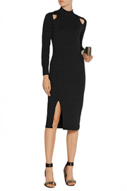 Cutout honeycomb stretch-knit midi dress