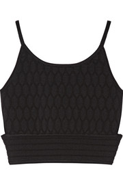 Cutout honeycomb stretch-knit top