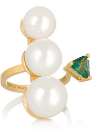 18-karat gold, pearl and topaz ring