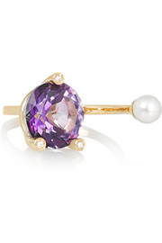 18-karat gold, topaz, diamond and pearl ring