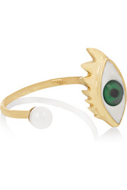 9-karat gold, enamel and pearl ring