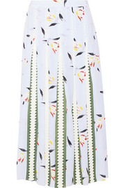 Grosgrain-paneled printed silk crepe de chine midi skirt