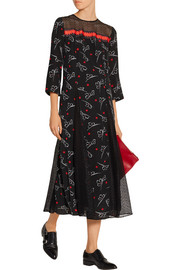 Lace-paneled printed silk crepe de chine midi dress