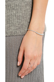 Linear sterling silver diamond bracelet