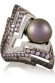 Lady Stardust 18-karat white gold multi-stone ring