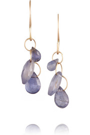 14-karat gold iolite earrings
