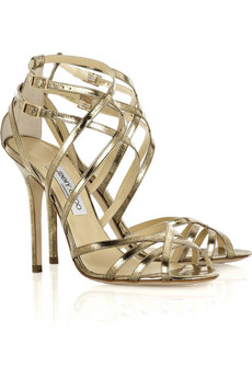 Jimmy Choo Quinta mirrored-leather sandals