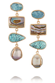 14-karat gold multi-stone drop earrings