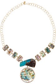 14-karat gold, shell and druzy necklace