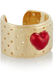Bandaid 14-karat gold and enamel ring