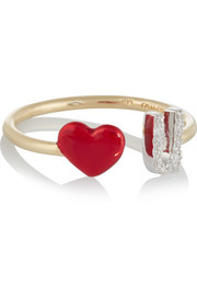 Love U 14-karat gold, diamond and enamel ring
