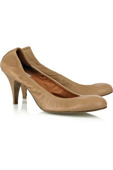 Lanvin | Heeled leather ballerina pumps from net-a-porter.com