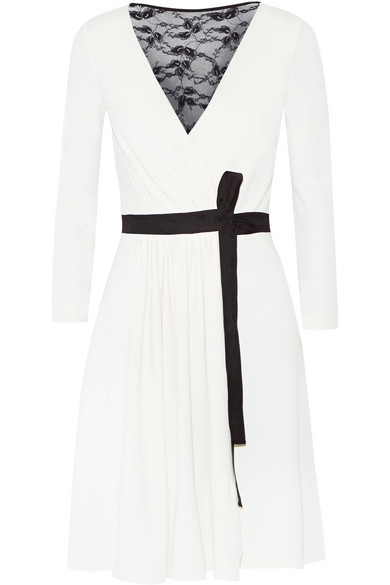 2b65bd9eaf4f Diane von Furstenberg. Seduction lace-paneled wool-jersey wrap dress