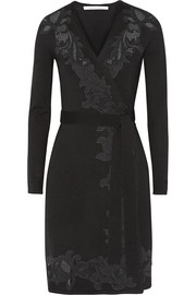Leandra lace-paneled wool-blend jersey wrap dress