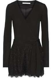 Tillie wrap-effect jersey and corded lace playsuit