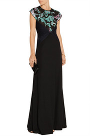 Embellished mesh and wool gown