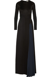 Vanka two-tone silk-jersey gown
