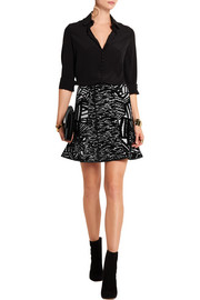 Winnie fluted stretch-jacquard mini skirt
