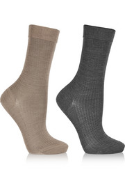 No.2 set of two silk-blend socks