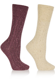 Set of two stretch cotton-blend socks