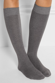 Cosy set of two stretch-knit knee socks