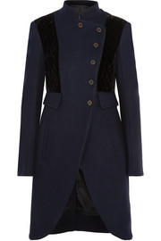 Velvet-paneled wool coat
