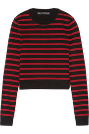 Cropped stretch wool-blend sweater