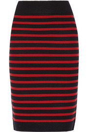 Stretch wool-blend pencil skirt