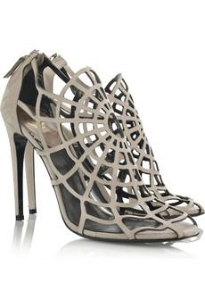 Roberto Cavalli|Spider-web suede sandals|NET-A-PORTER.COM from net-a-porter.com