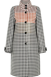 Paneled polka-dot wool coat