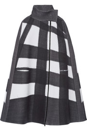 Oversized checked stretch wool-blend cape