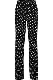 Polka-dot jersey wide-leg pants