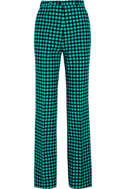 Polka-dot wool wide-leg pants