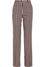 Polka-dot twill wide-leg pants