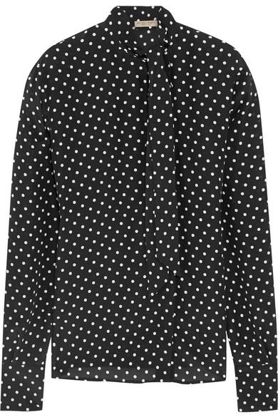 Bottega Veneta - Polka-dot Silk-georgette Pussy-bow Blouse - Black
