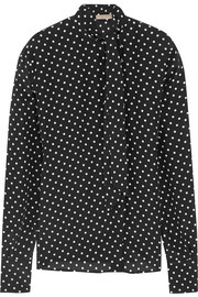 Polka-dot silk-georgette pussy-bow blouse