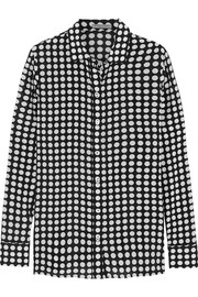 Polka-dot silk-georgette shirt