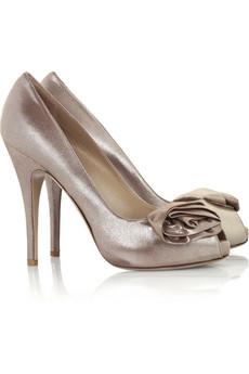 Valentino|Rosette metallic peep-toe pumps|NET-A-PORTER.COM from net-a-porter.com