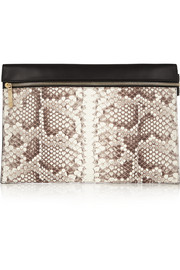 Python and leather clutch