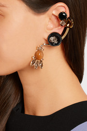 Gold-plated, crystal and horn ear cuffs