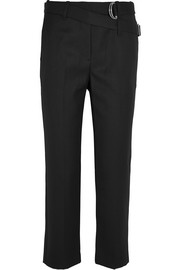 Cropped wool-gabardine striaght-leg pants