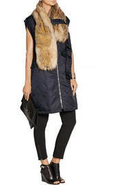 Faux fur-trimmed shell gilet