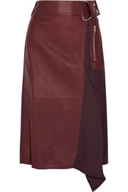 Leather and wool-twill skirt