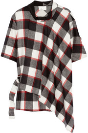 3.1 Phillip Lim Wrap-effect plaid wool and angora-blend top